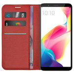 Leather Wallet & Card Slot Holder Case Stand for Oppo R11s - Red